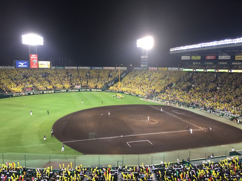 甲子園球場のロイヤルスイートからみた試合風景